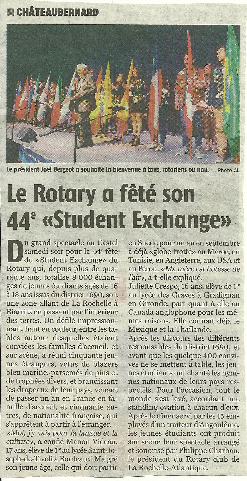 Article 23 mai 2016 Charente Libre fête des students