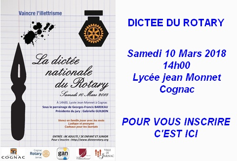 Dictée du Rotary 2018 – Rotary Club de Cognac – Inscription